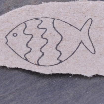 Stempelabdruck-Fisch klein Welle Kontur