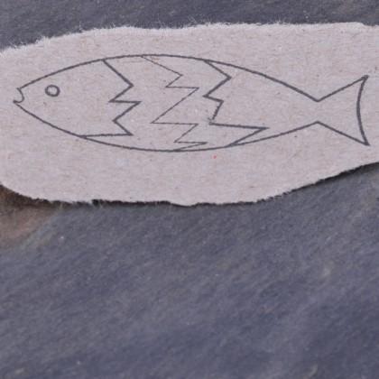 Stempelabdruck-Fisch Zacke Kontur