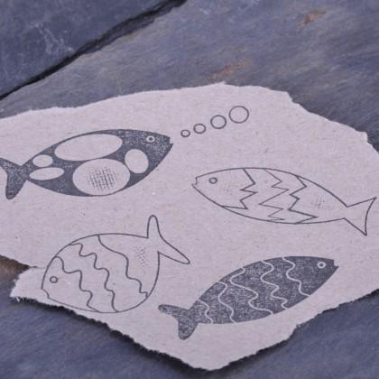 Stempelabdruck-Fischset