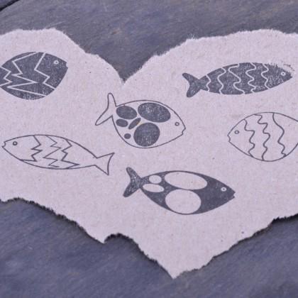 Stempelabdruck-Fischset-klein